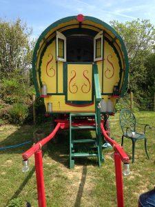 Bow top caravan at Wecombe cross
