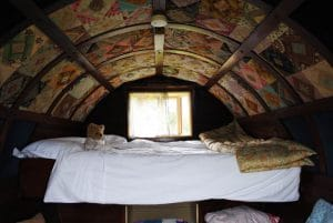 The interior of the gypsy caravan