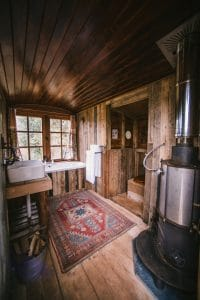 Interior Bathing Wagon with woodburner