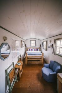 Interior Shepherd's Hut with double bed