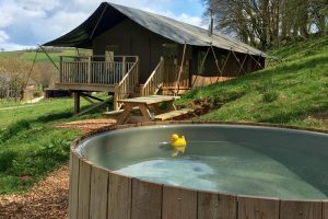 Tamar safari tent glamping with hot tub