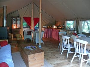 interior of tent with woodburner