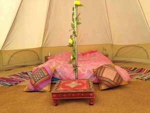 A bell tent at West Town Farm near Exeter, Devon