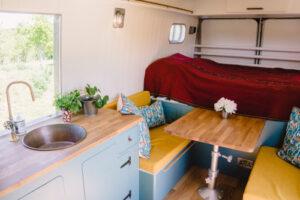 bed in glamping van