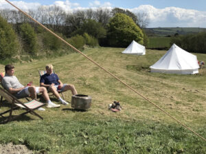 People and North Thorne enjoying glamping in Devon